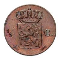 1/2 cent 1865 Willem III Pr+