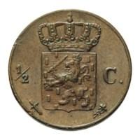1/2 cent 1873 Willem III ZFr+