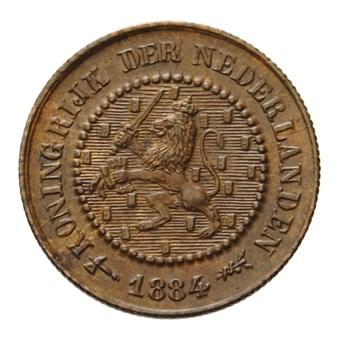 1/2 cent 1884 Willem III Pr+