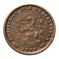 1/2 Cent 1940 Wilhelmina ZFr+
