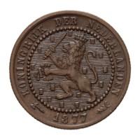 1 cent 1877 Willem III ZFr+
