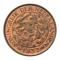 1 Cent 1937 Wilhelmina Pr+