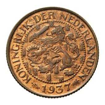 1 Cent 1937 Wilhelmina Pr
