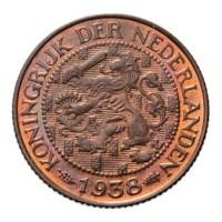 1 Cent 1938 Wilhelmina Pr+