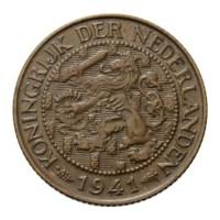 1 Cent 1941 Wilhelmina Pr-