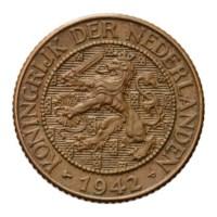 1 Cent 1942 Wilhelmina ZFr+