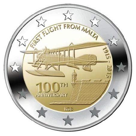 "Malta 2 Euro ""First Flight"" 2015 UNC"