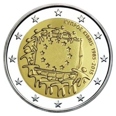 """Cyprus 2 Euro """"Europese Vlag"""" 2015"""