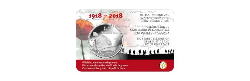 Rectificatie 5 euro 2018 '100 jaar wapenstilstand en herintreding vrede'