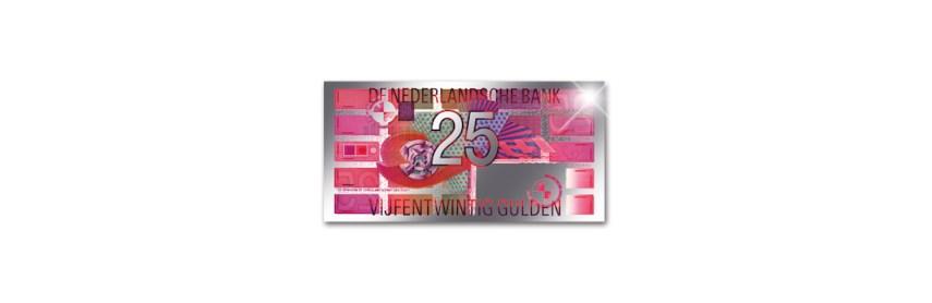 Nieuw: Zilveren miniatuur Gulden bankbiljetten